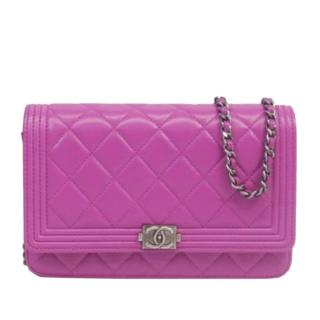 Chanel Quilted Leather Magenta Boy Wallet on Chain