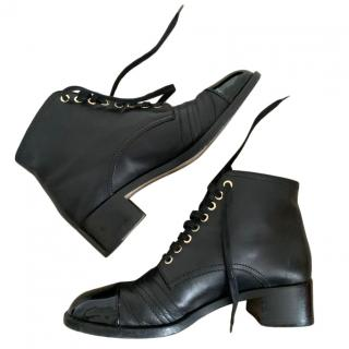 Chanel Black Leather Lace-Up Ankle Boots with Patent Toe