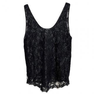 Emilio Pucci Black Lace Tank Top