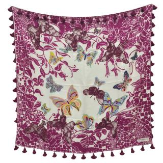 Emilio Pucci Silk Printed Lace Detailed Scarf