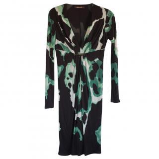 Roberto Cavalli Black & Green Printed Dress