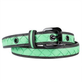 Bottega Veneta Green Intrecciato Leather Belt