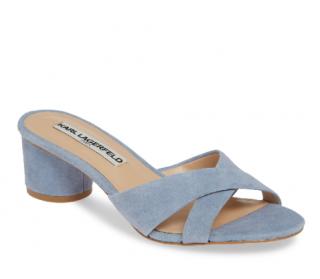 Karl Lagerfeld Fawn Leather Crisscross Slide Sandals in Cornflower