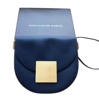 Purificacion Garcia Blue Saffiano Leather Half Moon Bag