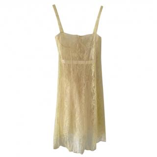 Dior Lemon Yellow Lace & Tulle Dress