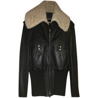 Alexander McQueen Leather Jacket with Removeable Shearling Collar