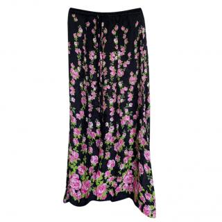 Gucci Rose Print Wide Leg Pants