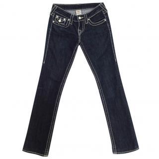 True Religion rhinestone trim dark wash stretch jeans