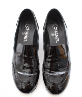Chanel patent leather black cc loafers