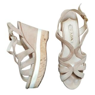 Prada Beige Suede Platform Sandals