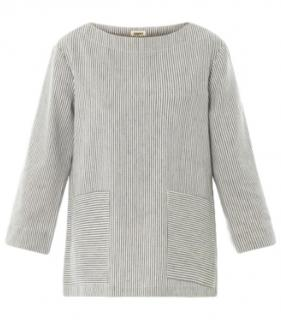 L'Agence striped linen blend top