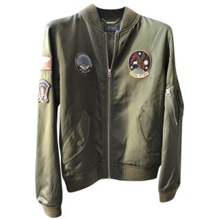 Ralph Lauren Polo olive green patch detail bomber jacket