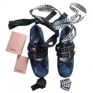Miu Miu Denim Lace-Up Ballerina Flats