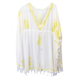 Melissa Odabash white & yellow embroidered kaftan