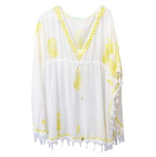 Melissa Odabash white & yellow embroidered kaftan