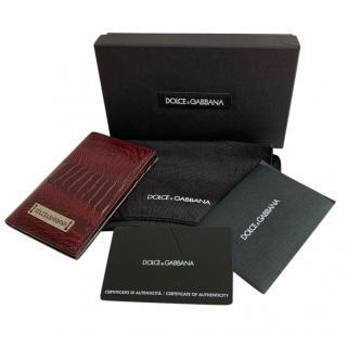 Dolce & Gabbana Ostrich Burgundy Card Holder