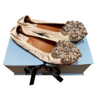 Lanvin FLoral Embellished Silk Ballerina Flats