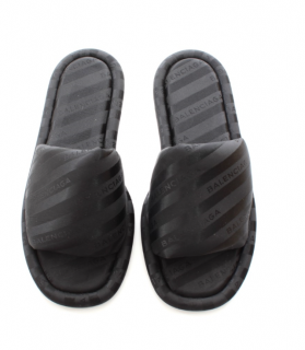 Balenciaga Black Struped Logo Slides