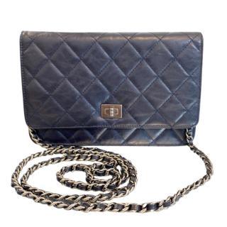 Chanel Navy Lambskin Reissue Wallet On Chain