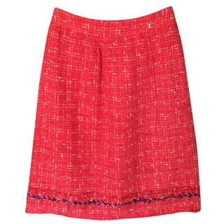 Chanel Red Tweed Boucle Skirt