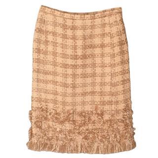 Oscar De La Renta Beige Tweed Fringe Skirt