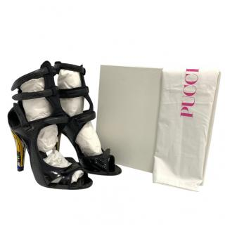 Emilio Pucci Leather & Neoprene Cut-Out Sandals