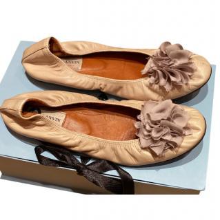 Lanvin Floral Embellished Ballerina Flats