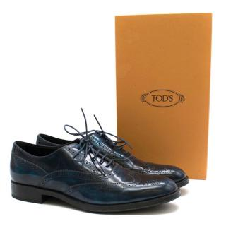 Tods Lace-Up Almond Toe Blue Patent Brogues