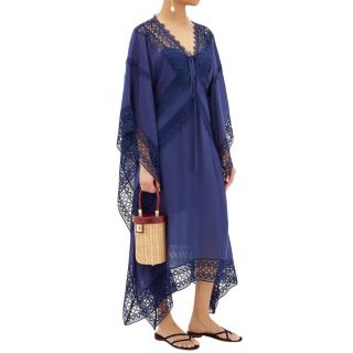 Self Portrait Lace-trimmed voile kaftan
