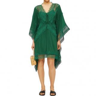 Self Portrait Green Lace insert cape-sleeve kaftan