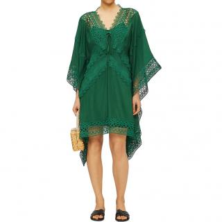 Self Portrait Green Lace insert cape-sleeve kaftan