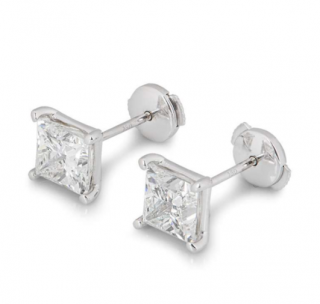 Bespoke White Gold Princess Cut Diamond Earrings