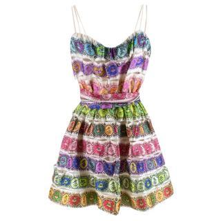 Roberto Cavalli rainbow printed mini dress