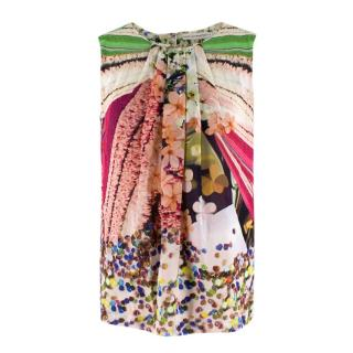 Mary Katrantzou Sheer Silk Printed Gathered Top