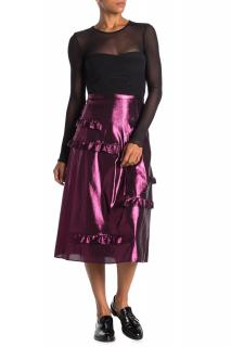 Burberry Merse Silk Blend Metallic Midi Skirt