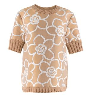 Marni Beige Knit Jumper with Floral Front