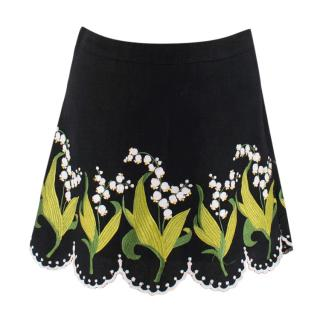 Andrew GN Embroidered Scalloped Mini Skirt