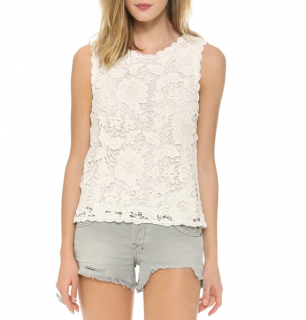 Velvet White Lace Top W/ Scalloped Trim