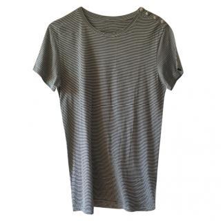 Balmain Striped Distressed T-Shirt