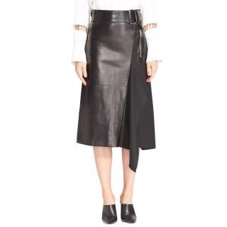 3.1 Phillip Lim Leather Contrast Asymmetrical Wool Twill Skirt