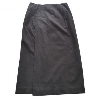 Hermes Black Wool Wrap Skirt