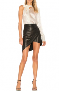 Paige x Rosie HW Frederica Faux Leather Asymmetric Skirt
