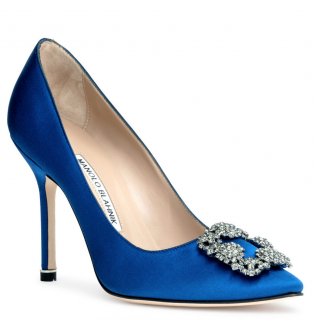 Manolo Blahnik Blue Satin Hangisi 105 Pumps  39 eu