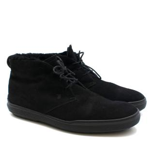 Tod's Desert Boots in Black Suede with Fleece Lining