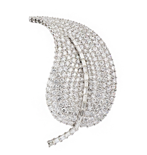 Bespoke 18k Gold Diamond Set Leaf Brooch
