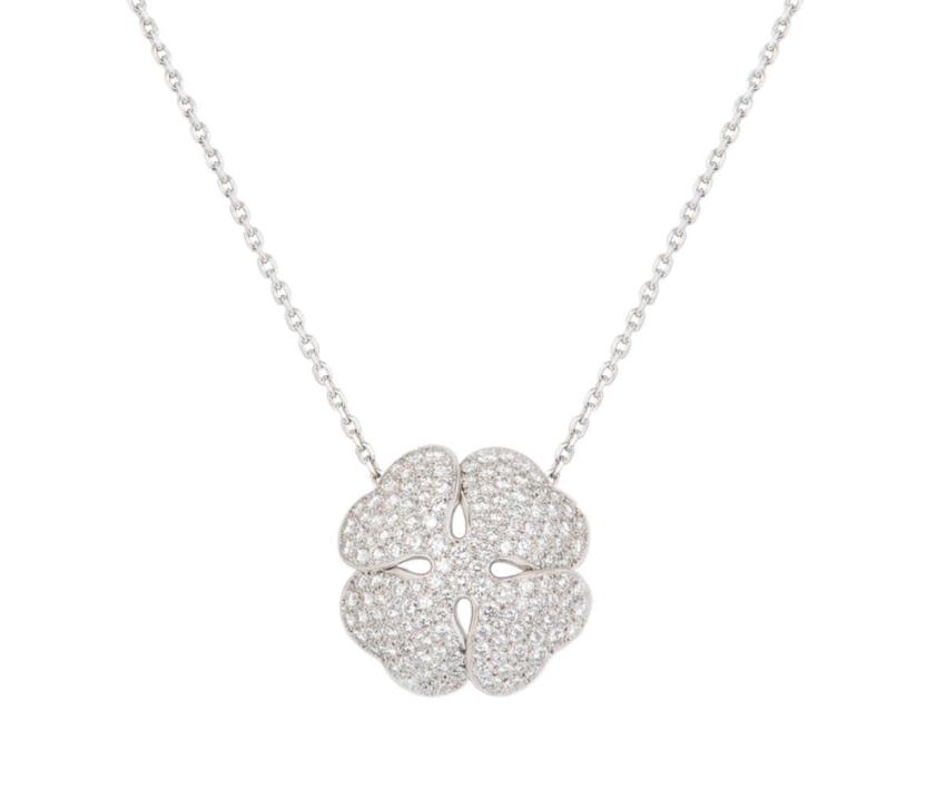 Cartier Diamond Set White Gold Lucky Clover Necklace