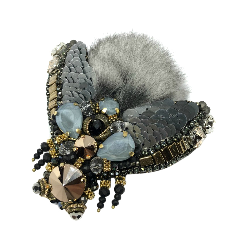 Furry SD embellished chinchilla fly brooch
