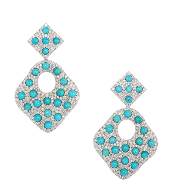 Bespoke White Gold Diamond and Turquoise Drop Earrings