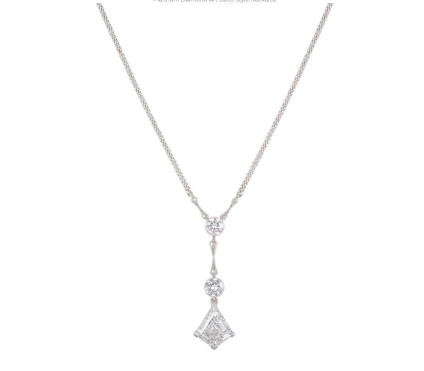 Bespoke Platinum Diamond Art Deco Necklace