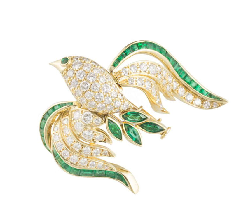 Bespoke Yellow Gold Bird Brooch with Emeralds & Diamonds